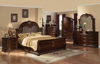 Queen Bedroom Collection Anondale Cherry Finish Leather Marble 5 Piece