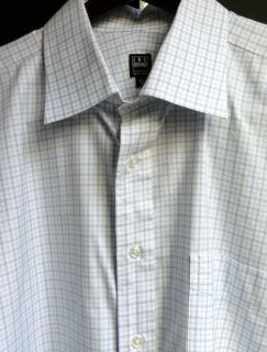 IKE BEHAR MENS LONG SLEEVE CASUAL SHIRT BLUE WHITE CHECK SIZE XL