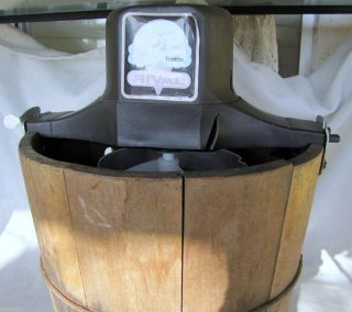Vintage Wooden Bucket Rival Ice Cream Maker Electric Pure Natural