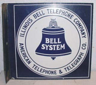 20s Illinois Bell Telephone Porcelain Flange Sign Phone
