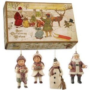 New Bethany Lowe Joyous Christmas Ornaments Set of 4