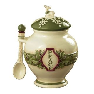 Deck The Halls Christmas PEACE & JOY Ginger Jars with Spoons by