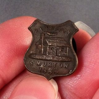 1888 Benjamin Harrison & Levi Morton Campaign Pin Pinback Stud Button