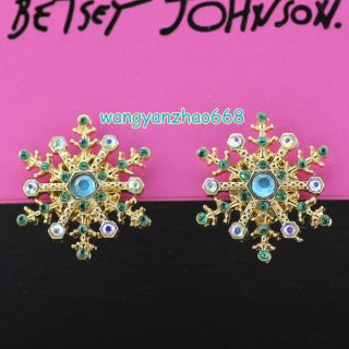 Betsey Johnson Green Clear AB Crystals Gold Plated Ear Studs Earrings