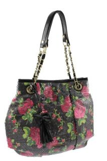 Betsey Johnson Glitzy Multi Color Floral Print Sequined Satchel