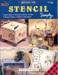 Begin to Stencil Simply 43 Easy Projects Craft Booklet 1999 Mint New