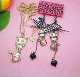 Betsey Johnson White Cat Crystal Hoop Earrings White Cat Necklace Set