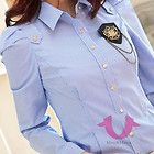 Gold buttons long sleeve stripe printing with Tie Top Shirt Blouse