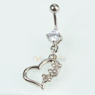 Barbell Navel Belly Button Ring Clear Crystal Body Jewelry