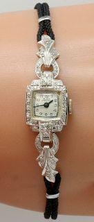 DECO ANTIQUE .25CT ROUND DIAMOND 14K WHITE GOLD BELMAR WATCH