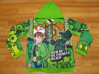 Ben 10 Ultimate Alien Hooded Jacket 989 Green Size 10 age 8 10
