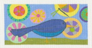 Zecca Blue Bird Multi Colored Handpainted Needlepoint Canvas for An