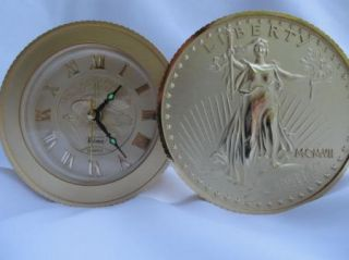 VTG BULOVA Lady Liberty Alarm Clock Gold 20 Dollar Coin MCMXVII