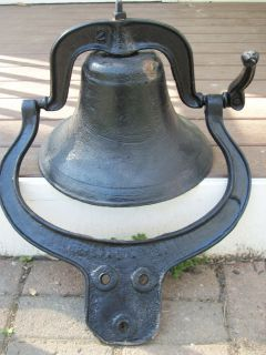CRYSTAL METAL No 2 Cast Iron School BELL Yoke Cradle SEE VIDEO Hear