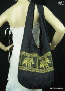Hippie Hobo Sling Crossbody Bag Purse Elephant Messesger Thai Cotton