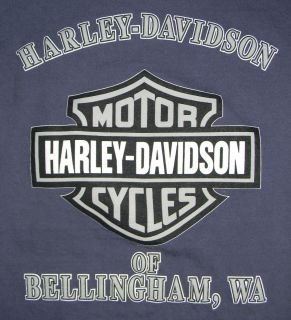 Mens Harley Davidson Bellingham, WA Long Sleeve Logo T Shirt w/ pocket