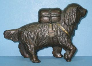 ST BERNARD W/ PACK SM CAST IRON DOG TOY BANK GUARANTEED OLD