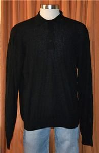 JHANE BARNES LONG SLEEVE BLACK WOOL NYLON BLEND SWEATER POLO SHIRT
