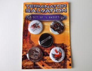 SET of 5 TERMINATOR SALVATION BUTTON BADGES   STILL ON SEALED CARD