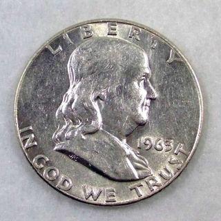 1963 D Silver Benjamin Franklin Half Dollar
