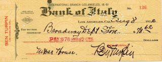 Silent Star Ben Turpin Signed Personal Check 1922