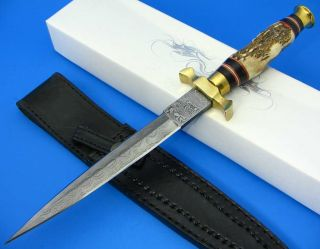 Damascus Steel Double Edged Dagger Fixed Blade Stag Handle Knife w