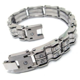 Stainless Steel Bicycle Chain Crystal Mens Bracelet