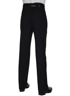 Berle Mens Worsted Wool Dress Pants Pleated Navy Blue Trousers Milan