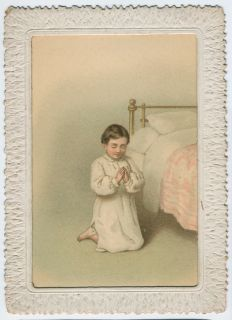 Victorian Hold to Light 2 sided Chromo Christmas Card, Angels, Praying