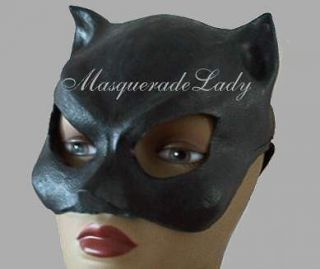 sexy black cat woman latex half mask ears halloween costume accessory
