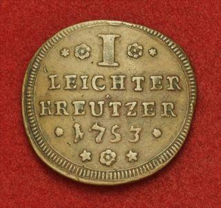 1753 Wurzburg Bishopric Karl Philipp Large Copper 1 4 Kreuzer Coin aXF