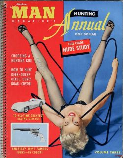 Man Annual 1955 Vol 3 Bettie Page Betty Brosmer auto racing cars guns