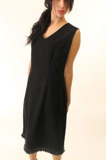 Vintage 60s Mod Black Wool Shift Dress M L Fringe Hem Tassel Trim LBD