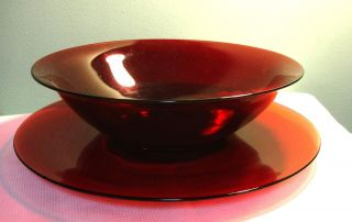 Vintage Hocking Royal Ruby Red Large Salad Bowl Underplate EXCLNT Cond