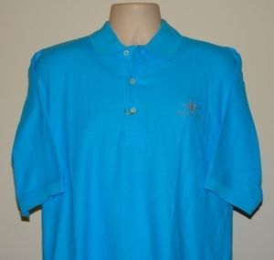 Bertram Yacht Sport Fishing Boat Mens Outerbanks Pique Polo Shirt AQUA
