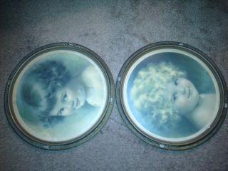 Antique Bessie Pease Gutmann Round Picture Art Frames RARE