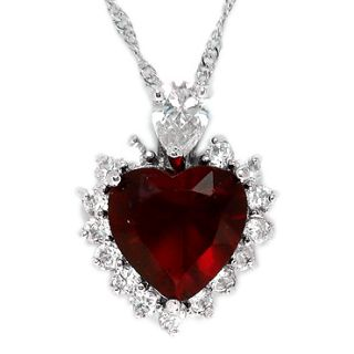 Christmas Gift Jewelry Red Ruby White Gold GP Pendant Necklace Neck