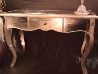 Bethel Antique Mirrored Large French Leg Console Entry Accent Table $