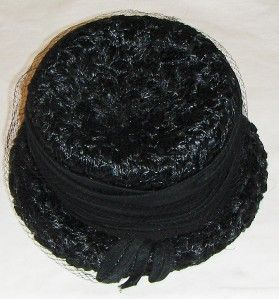 New Vtg Roberta Bernays Black Straw Hat Womans Bucket Cloche Church