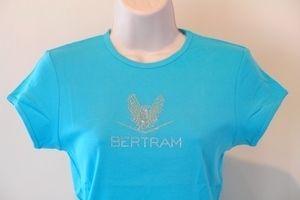 Bertram Yacht Sport Fish Boat Bella Rhinestone Super Cute T Shirt Aqua