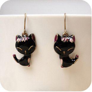 Beautiful New Betsey Johnson Black Cat Smiling Cat Earrings