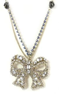 Betsey Johnson Jewelry Iconic Vintage Heart Large Bow Necklace Crystal