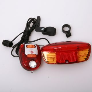 safety 3 in1 Bicycle Bike Turn Signal Brake LED Light 8 Tune Horn for