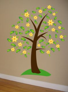 Wall Decal Big Tree w Flowers Deco Art Sticker Mural