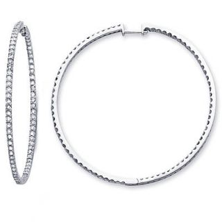 14k White Gold Large Round Diamond Hoop Earrings 2 88ct