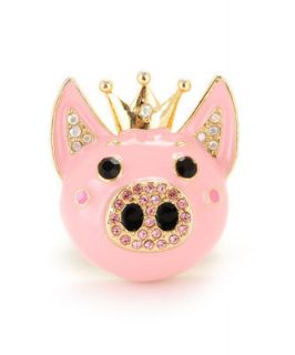 Betsey Johnson Inlaid rhinestones lovely crown pink small pig ring