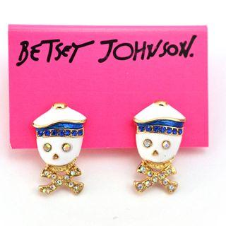 betsey johnson sailor skull crossbones earrings