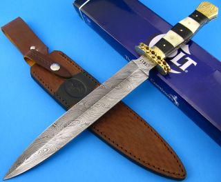 Colt Damascus Steel Double Edge Dagger Fixed Blade Knife Bone Horn