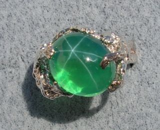 Big Linde Spring Green Star Sapphire Created SS Ring