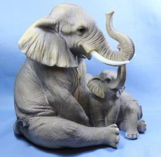 New Large Elephant Mother w Tusks & Baby Statue Figurine Sculpture